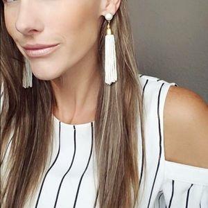 Stella & Dot - Gita Tassel Earrings - White